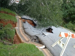 Road collapsed over culvert