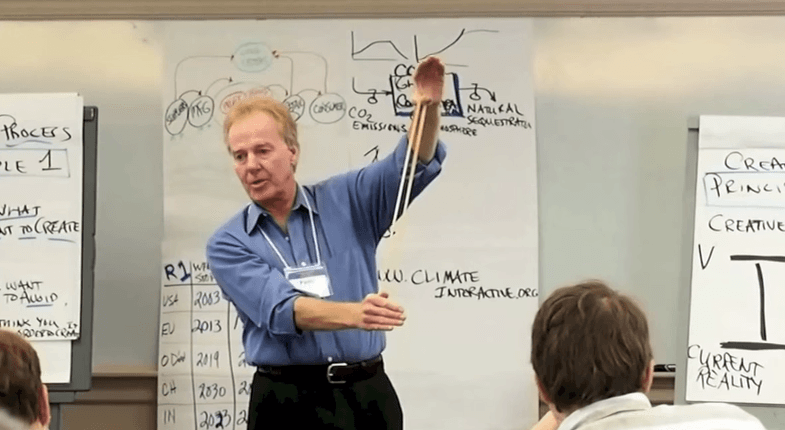 Dr. Peter Senge debriefing World Climate exercise