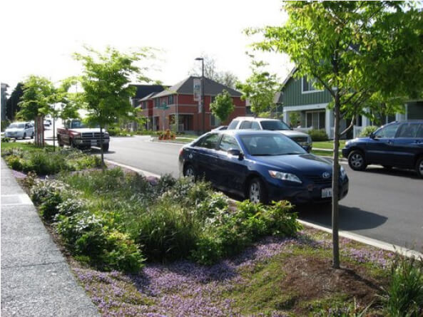 Streetside Swale in Seattle, Washington. Source: U.S. EPA