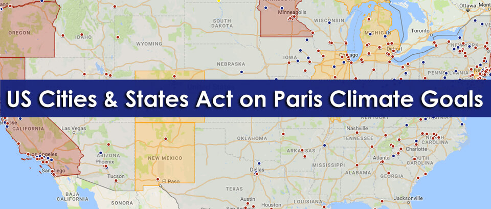 Which USA cities and states are committed to the goals of the Paris climate agreement?